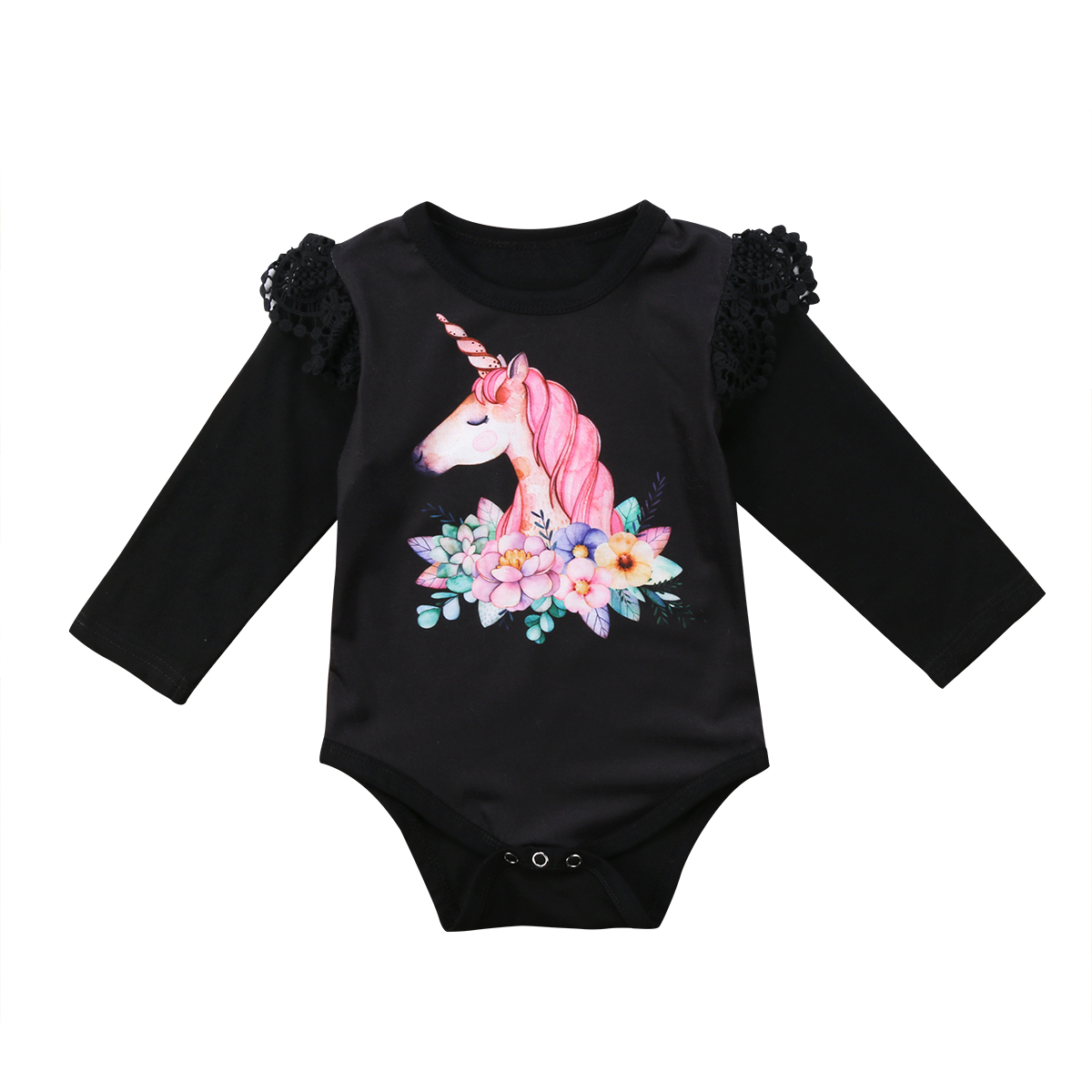 Unicorn baby girls clothes Infant Baby Girls Long Sleeve Unicorn   Romper   Jumpsuit babies body suits 2 colors black white