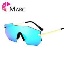 MARC UV400 WOMEN MEN fashion sunglasses Pgafas Sol oculos eyewear Mirror Silver Alloy Metal Pink Rimless Goggle