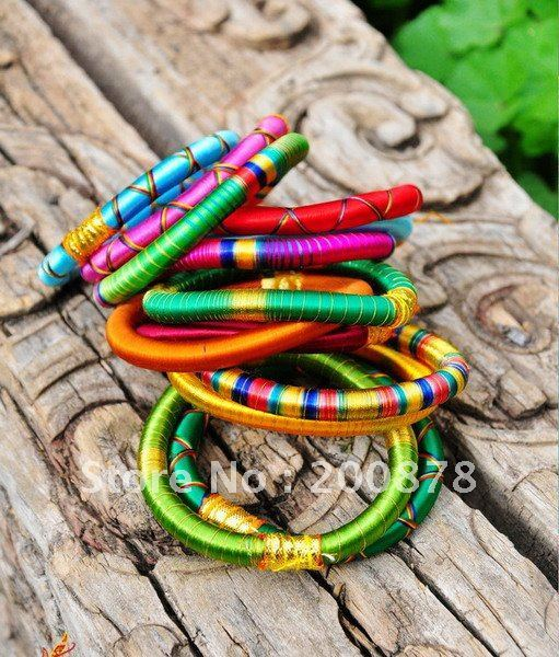 BB-219  Indian colorful Bollywood fashion dance silk knotted bangle,mix order,10 pieces lot,Best offer