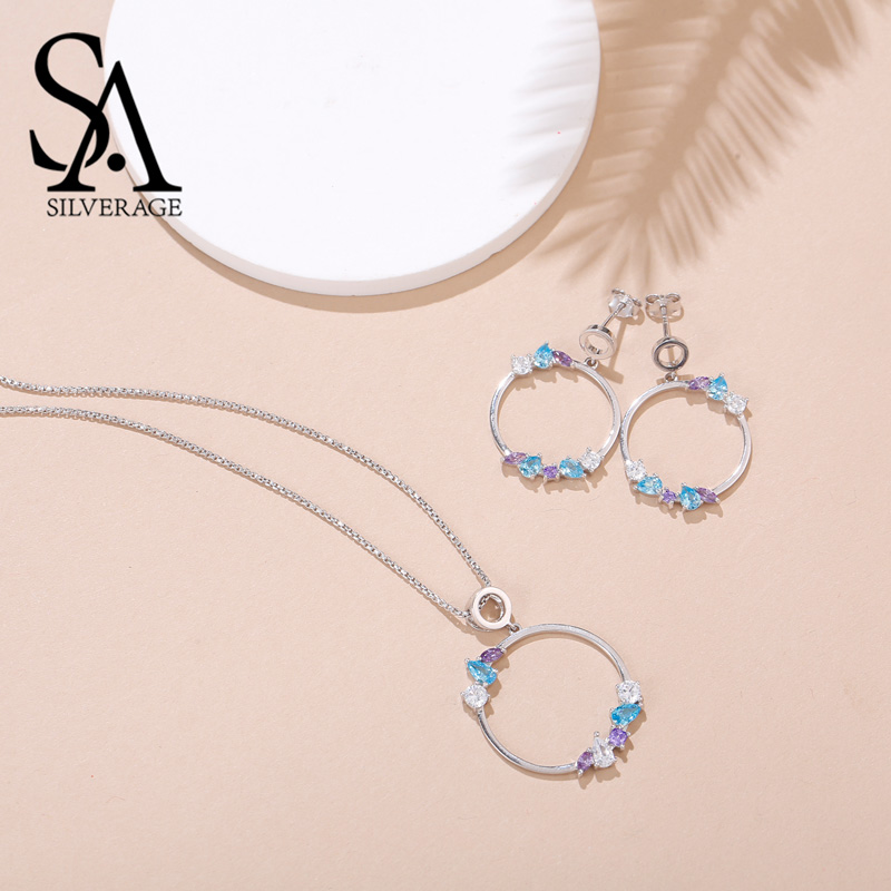SA SILVERAGE 925 Sterling Silver Colorful Zirconia Round Circle Pendant Necklaces Drop Earrings Sets 925 Silver