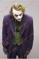 Free shipping New Custom made High quality Batman Dark Knight Rise Arkham Asylum Joker Trench Coat Cosplay Costume B 72