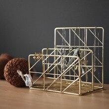 Nordic Gold Magazination Holder Luxury Metal Bookshelf Simple Table Envelope Letter Organizer Jewelry Storage Rack Manual