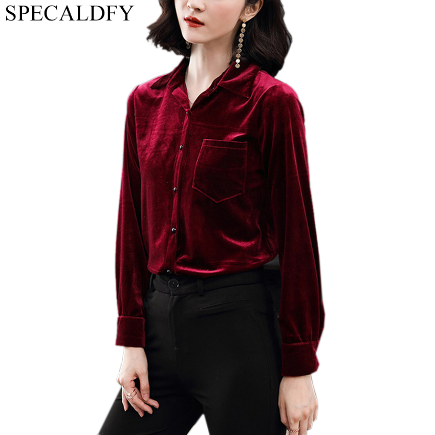 fa1c72c012b3cd 2019 Spring Winter Velvet Blouse Womens Tops And Blouses Red Green Vintage Blouse  Ladies Casual Plus Size Shirts Blusa Feminina