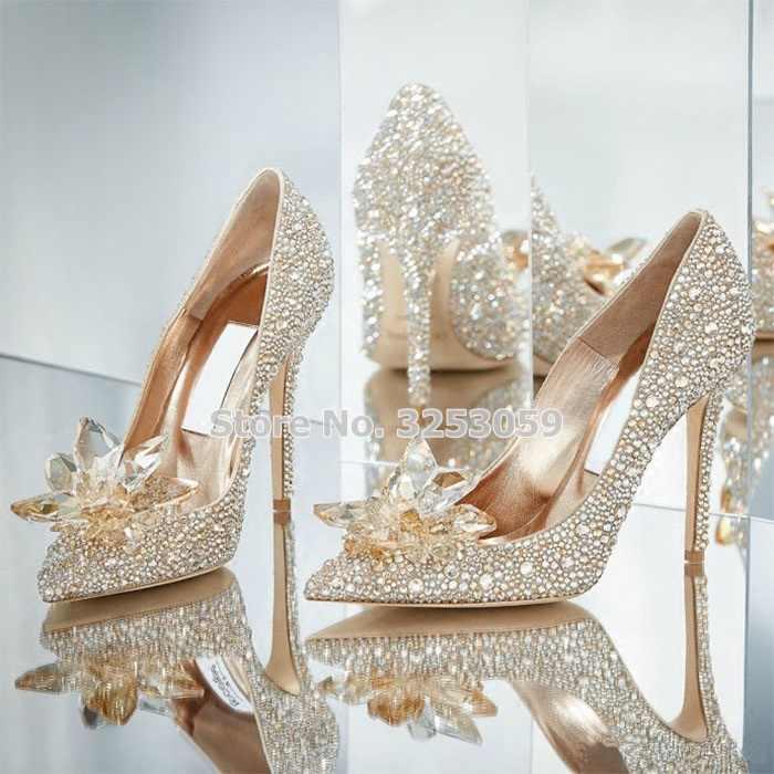 ALMUDENA Bling Bling Cinderella's Crystal Schoenen Gold Siver Rood Zwart Glinsterende Strass Trouwschoenen Sieraden Bloemen Pompen
