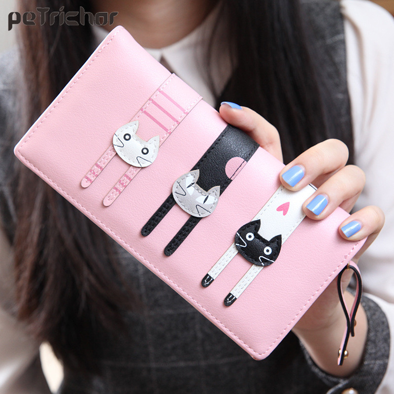 2016 New Fashion Envelope Women Wallet Cat Cartoon Wallet Long Creative Female Card Holder PU Wallet Coin Purses Girls 2017 new ladies purses in europe and america long wallet female cards holders cartoon cat pu wallet coin purses girl