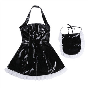 Image 4 - Sissy Dress Sexy French Maid Uniform Anime Cosplay Costume Wet Look Maidservant Outfits Halter Babydoll Dress Sissy Maid Uniform