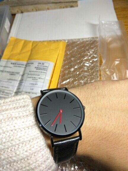 Relojes ore classic due mani quadrante nero faccia caso di colore nero orologio uomo Inghilterra Design reloj negro