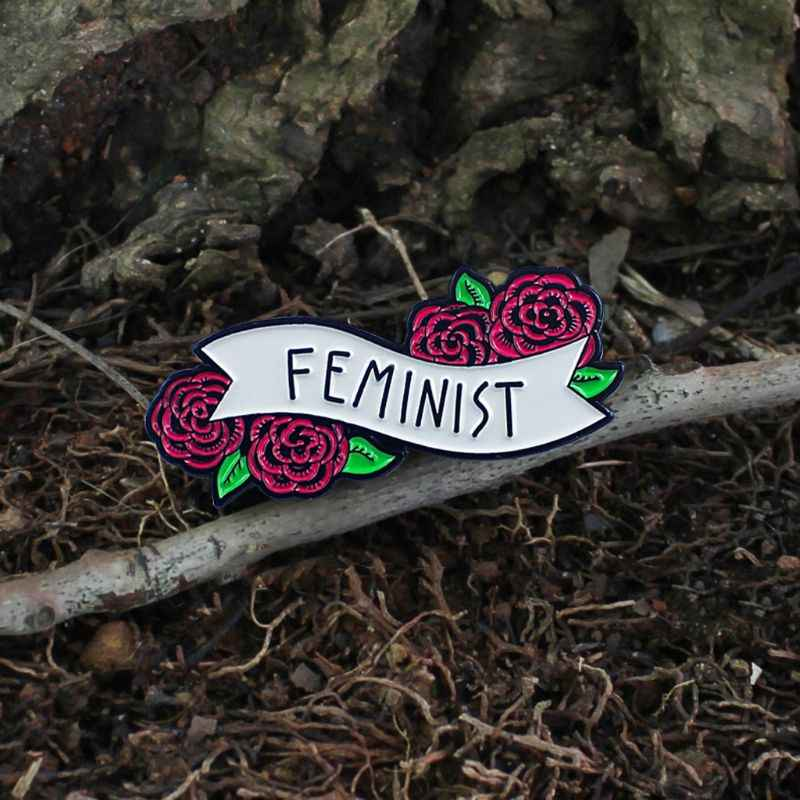 Feminist Enamel Pin Banner With Flowers Cute Quote Accessory For Women Jewelry Aliexpress