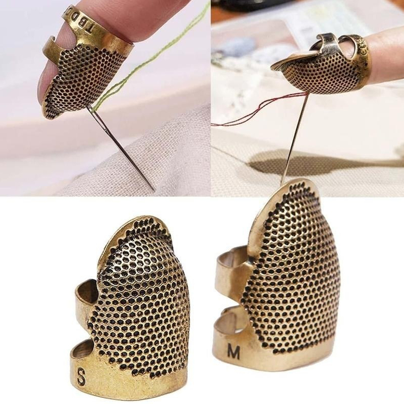 1pc Gold Metal Protective Punch Needle Sewing Knitting Accessories Needlework Finger Tip Stitching Hoop Thimble Ring