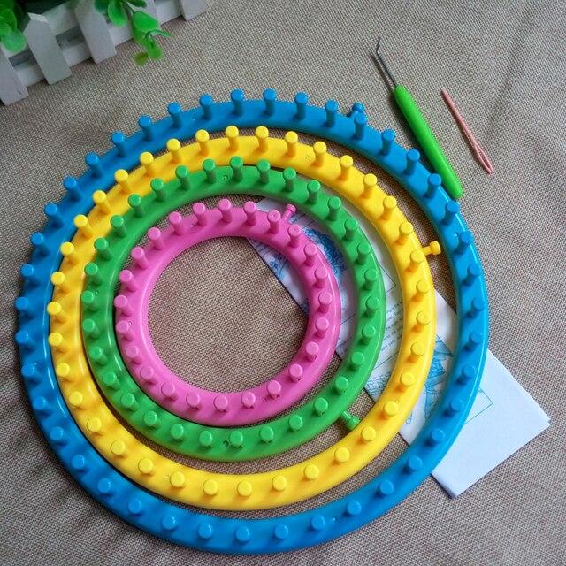 Nützliche 4 größe diy stricken tool set runde knitter webstühle ring ...