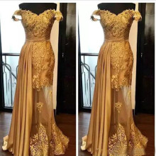 Chic Gold Prom Gowns 2019 V Neck Lace Applique Satin A Line Floor Length Cheap Formal Dress Custom Made Evening Party Gowns