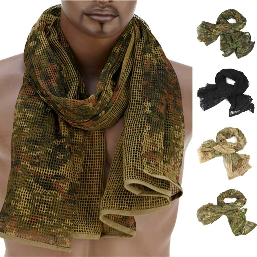 190*90cm Cotton Military Camouflage Tactical Mesh Scarf Sniper Face Veil Camping Hunting Multi Purpose Hiking Scarve multi purpose skeleton pattern triangular scarf mask
