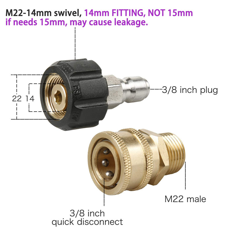Car washer 8pcs Mingle Pressure Washer Adapter Set Quick Disconnect Kit M22 Swivel to 3/8'' Quick Connect,3/4