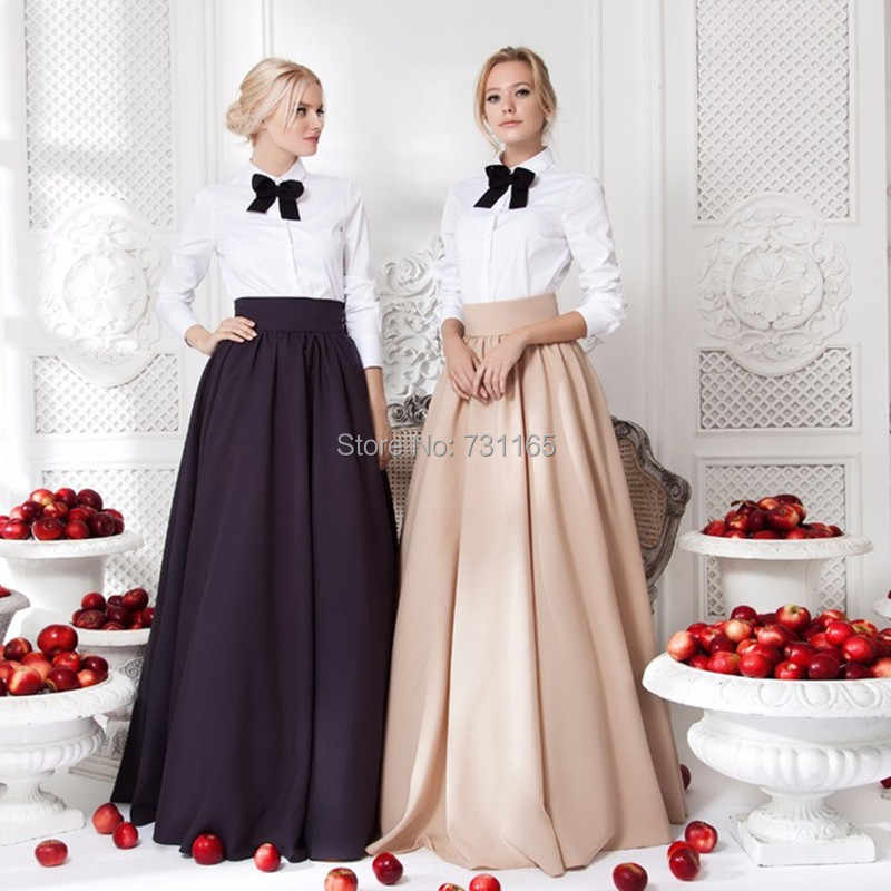 A-line Evening Party Long Skirts 2017 Floor Length Custom Made Elegant Winter Long Warm Skirts For Women