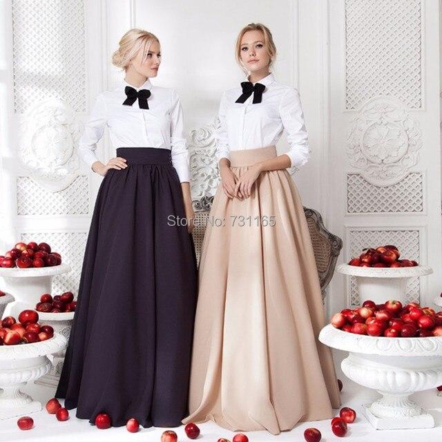 3231f12ad € 44.64 |Faldas largas de fiesta de noche de línea a 2017 de longitud hasta  el suelo elegantes faldas largas cálidas de Invierno para mujer en ...