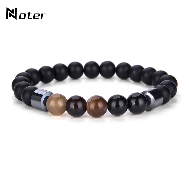 Noter Minimalist Hematite Natural Stone Beads Bracelet Colorful Gem Stone Yoga Meditation Braslet For Mens Women Jewelry Homme