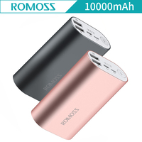 10000mAh ROMOSS ACE Dual USB Charging Port Outputs Aluminum Alloy External Battery For Smartphones Mobile Phones