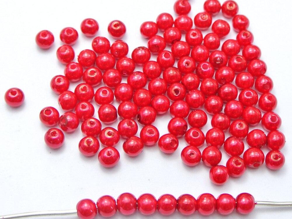 500 шт. 6 мм Пластик искусственный жемчуг круглый Бусины красный имитация жемчуга