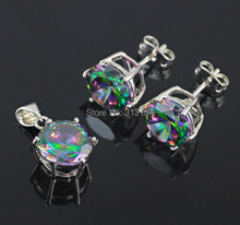 Sizzling Promote ! Spherical Wholesale Wpmen Jewellery Set Mystic Topaz 925 Silver Stamp Pendant & Earrings NS27