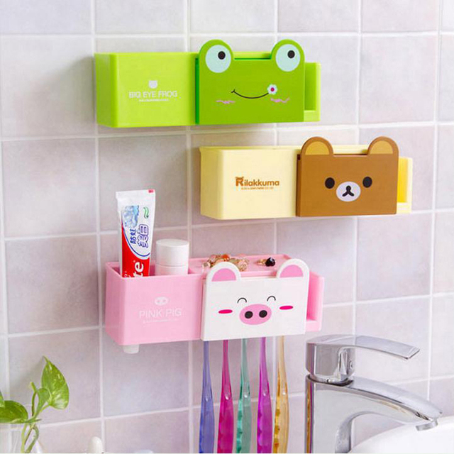 Cartoon Minions Toothbrush Holder Bathroom Set Accessories Cute Animals Er Tooth Brush Toothpaste Wall Holders Free