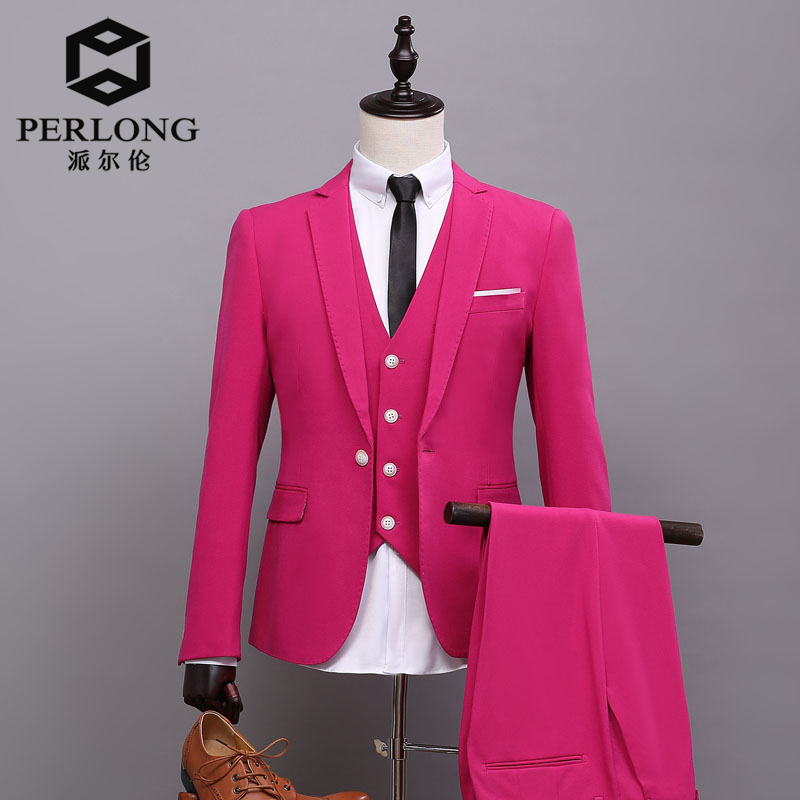Online Shop 2016 New tailor Made Hot Pink Men Jacket Groom Tuxedos ...