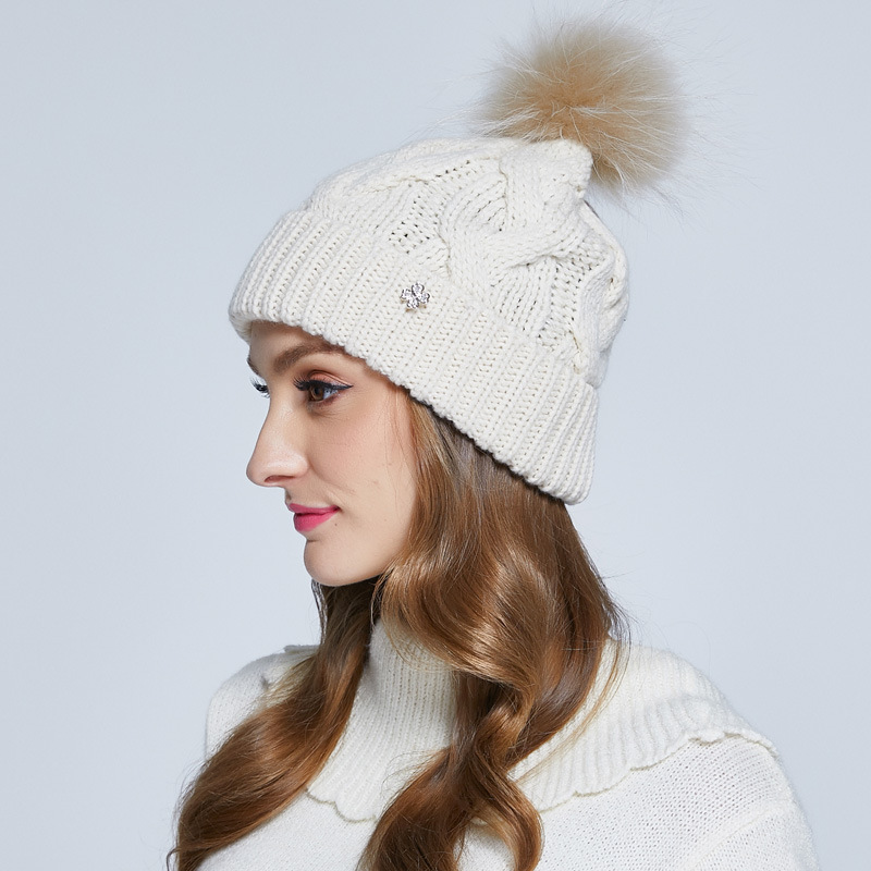 Fashion Women   Skullies     Beanies   Cap New Autumn Winter Wool Knitted Caps Female Knitted Warm Wool Hat Hand Woven Hat B-7333