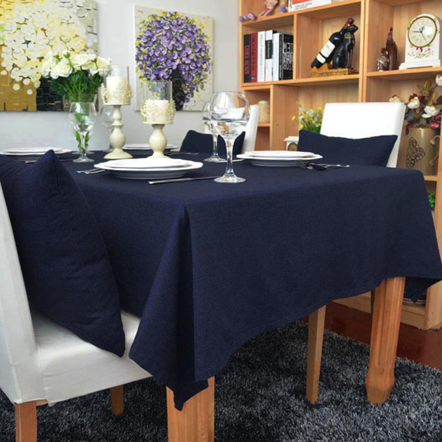 Classical Concise Style 100% Cotton Solid Color Navy Blue Color Tablecloth  Simply Table Dustproof Cloth