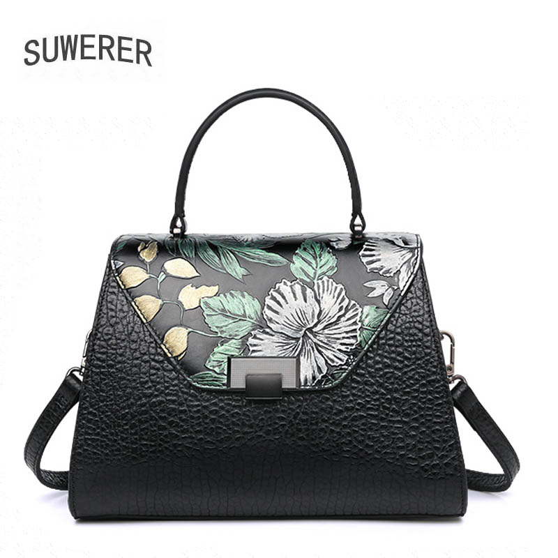 SUWERER 2019 new Women genuine Leather bags for women luxury handbags women bags designer Embossing flowers Art  tote bagsSUWERER 2019 new Women genuine Leather bags for women luxury handbags women bags designer Embossing flowers Art  tote bags