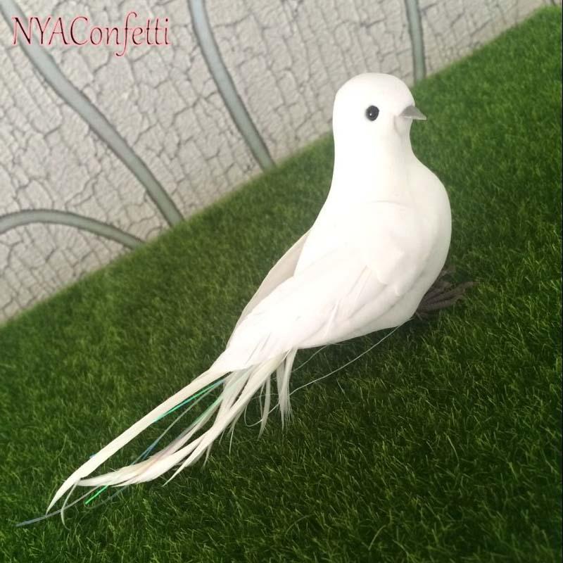 10PCS, 17 * 4 * 6CM dekorativní holubice umělé pěny peří bílé ptáky s nohou, DIY řemesla pták pro domácí dekor, svatební dekorace