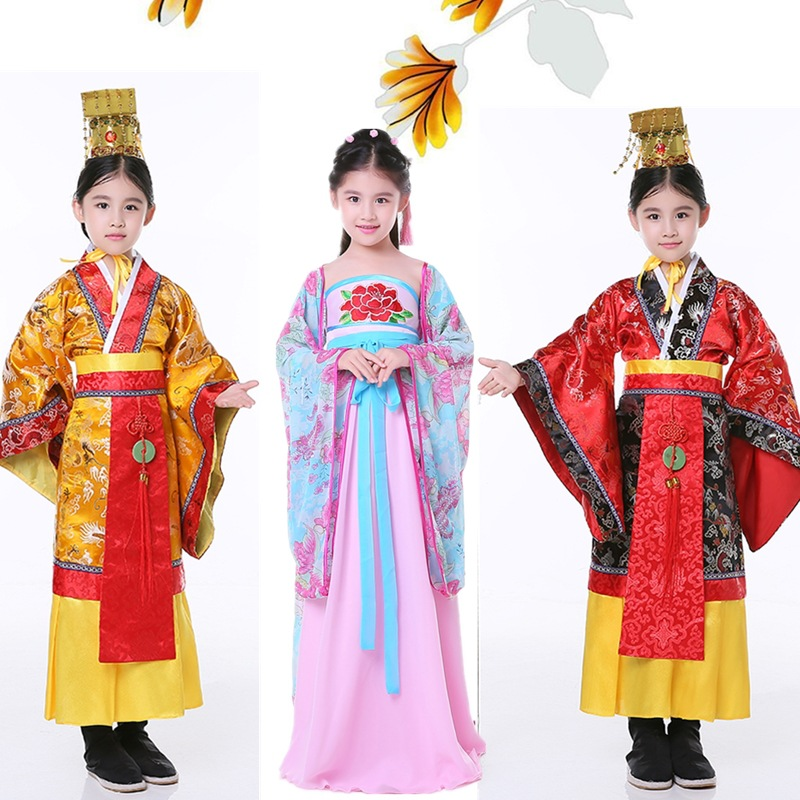 f25db33cd8 Children s Chinese Traditional Costume Girl Tang Dynasty Emperor Imperial  Prince Dragon Dance Clothing Male Ancient Clothes 89