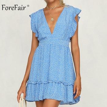 4db48ee663f Forefair платье с цветочным рисунком Лето Boho Sexy Line V средства ухода  за кожей шеи Пояса Туника повседневное элегантный юбка с оборками с  завышенн.