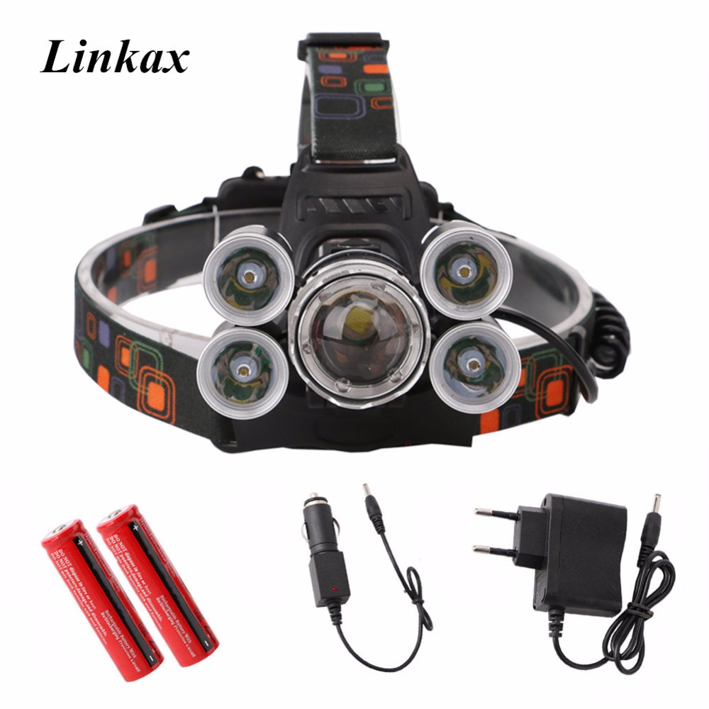 New Headlight 40000 Lumen headlamp 5CREE XML T6+Q5 LED Head Lamp Flashlight Torch Lanterna head light with battery AC/DC charger sitemap 21 xml