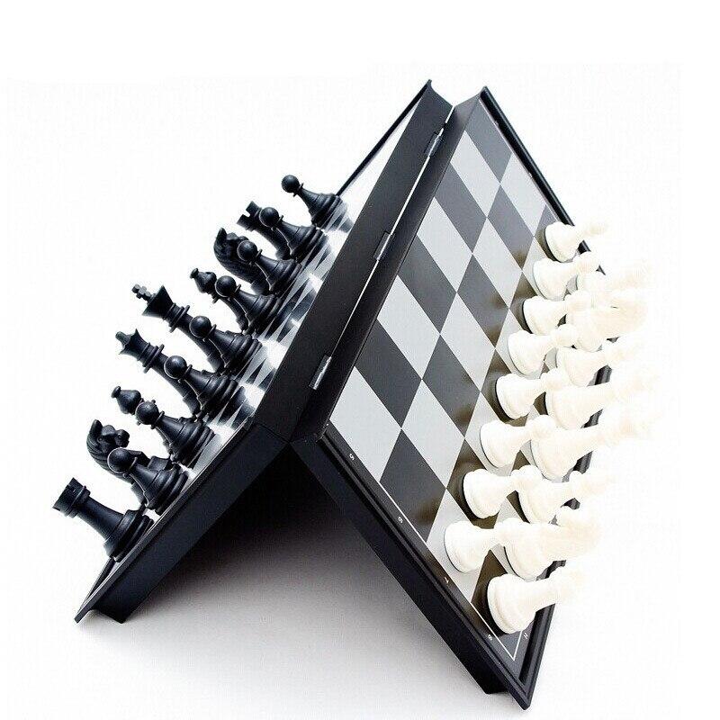 ᗑPortátil magnética ajedrez blanco y negro tablero de ajedrez ...