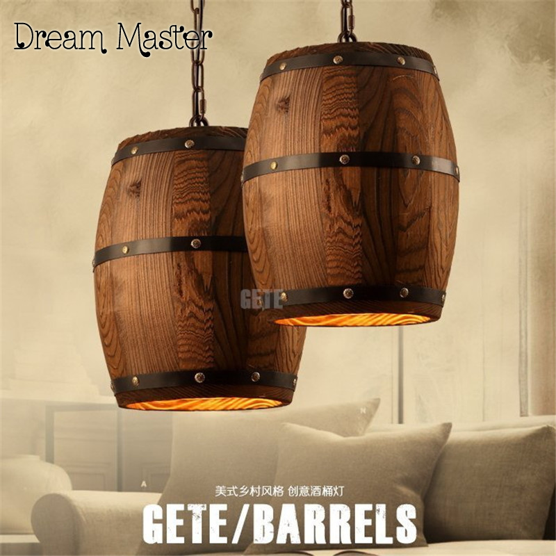 American country Vintage chandelier barrel industrial wind Bar Cafe creative personality wood Chandelier Postage free zakka do the old vintage american country three blackboard bar display clothing racks cafe wood craft