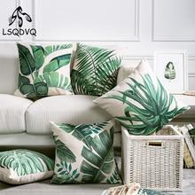 Planta verde Tropical hoja de palma hojas Monstera almohada impresa funda de cojín para sofá coche hogar almohadas 45x45cm