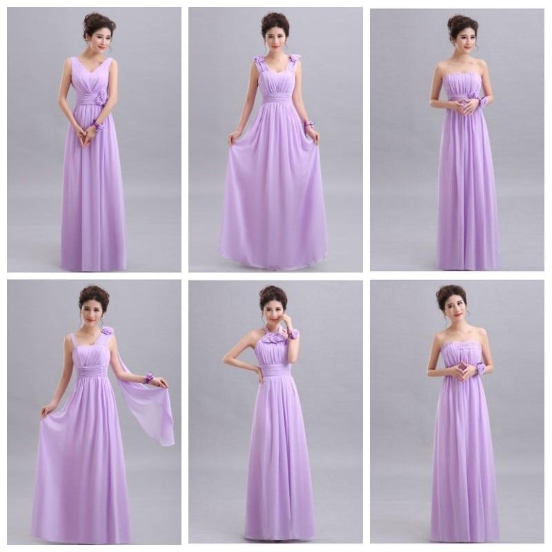 Beauty-Emily Purple Long Chiffon Blush Pink   Bridesmaid     Dresses   2019 A-Line Vestido De Festa De Casamen Formal Party Prom   Dresses
