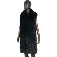 Winter Women rex rabbit Vest Fashion Female Sleeveless Vest Jacket Genuine Rex Rabbit Fur waistcoat Warm 90 cm long