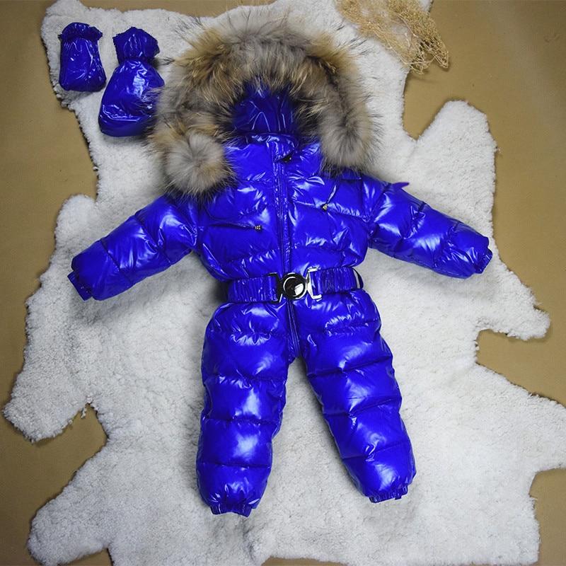 все цены на Winter Baby Jacket 90% duck down warm infant snowsuit girl coat windproof baby boy winter down outerwear snow wear jumpsuits онлайн