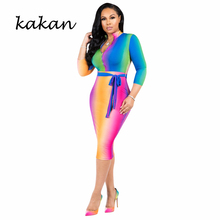 kakan 2019 Summer New Womens Dress Stripe Irregular Print Rainbow Gradient XL S-3XL