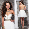 2015 Shinning! Sweetheart A-line Mini Backless Prom Dresses Ruffles Pleat Beads Crystal Organza Cocktail Dresses