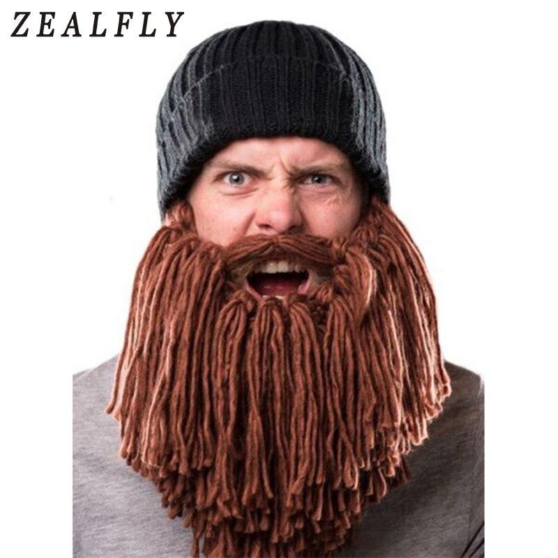 a43c7064 Men's Long Beard Viking Horn Hat Barbarian Vagabond Cool Beanie Hat  Handmade Knit Funny Crazy Ski Cap Cosplay Party Winter Warm
