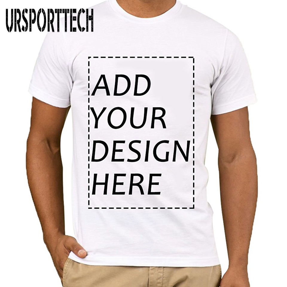 URSPORTTECH Customized Men's   T     Shirt   Print Your Own Design High Quality Breathable Cotton   T  -  Shirt   Send Out In 3 Days White Color
