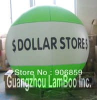 DHL Бесплатная доставка 2 метров/6.5ft зеленый надувные гелий Реклама воздушный шар с вашей большой логотип в середине для события