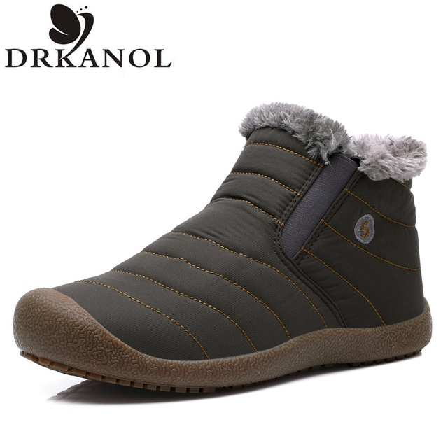 2016 Winter Style Casual Snow Boots men waterproof Ankle Boots Fashion Warm Winter Shoes High-Top Round Toe Men Flats Shoes