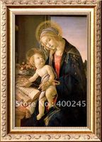 Musuem quality+100% handmade Portrait oil painting The Virgin Teaching the Infant Jesus to Read by Sandro Botticelli