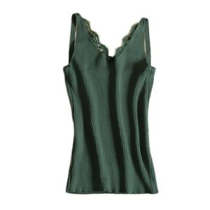 Image 2 - Liso De mujer Sexy camisola encaje empalme doble Chaleco con cuello en V Slim Sling camisola