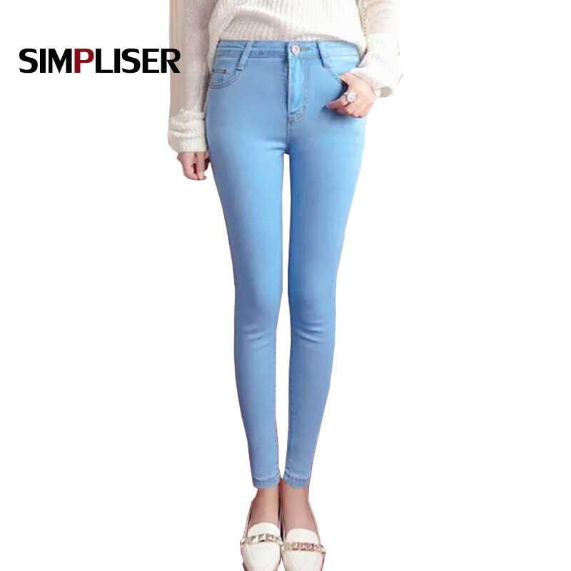 9aae1e3c295 High Stretch Women Jeans Pencil Pants Denim Blue Skinny Jeans Leggings  Black Grey Hip Push Up