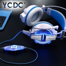Discount! USB 3.5MM Pro Gaming Gamer Headphone Each G7000 LED Earphone Microphone Surround Heavy Bass Vibrated Mic Line Controller