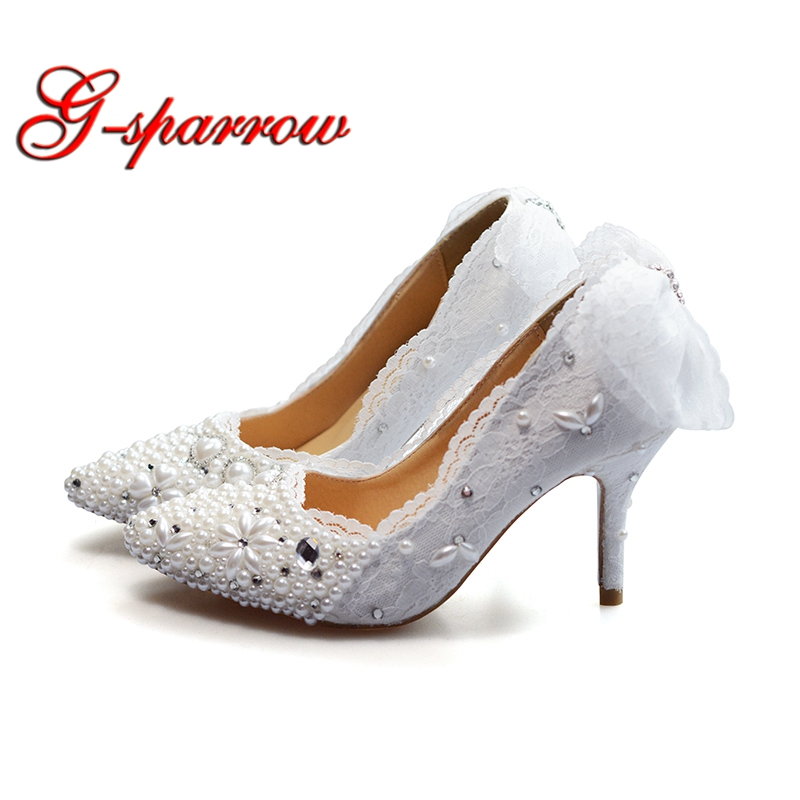 43536127c160 Wedding Shoes Lace Custom Made High Heel Pumps Bridal Shoes Ladies Evening  Party Shoes Pumps Pointed Toe Spring Kitten Heels - aliexpress.com -  imall.com