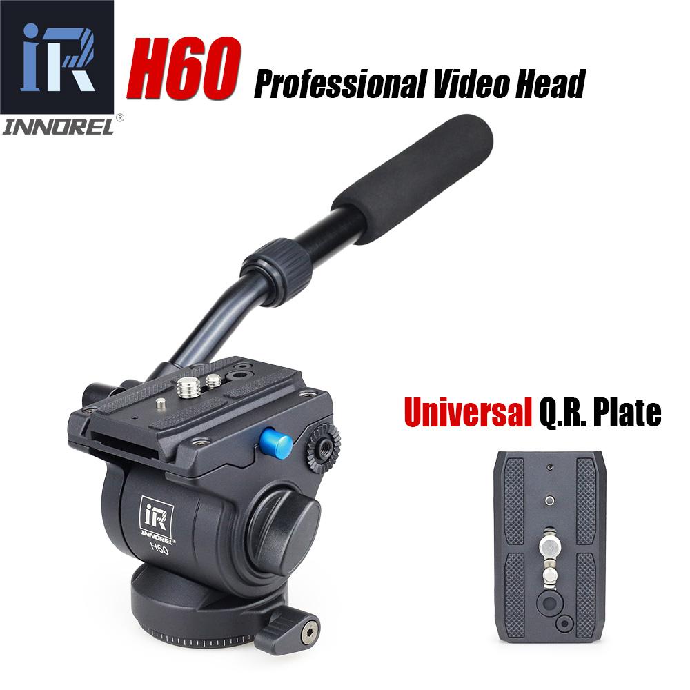 Prix pour H60 Panoramique trépied tête Hydraulique fluide tête vidéo pour monopode curseur Manfrotto 501PL plaques compatible Mieux que JY0506H